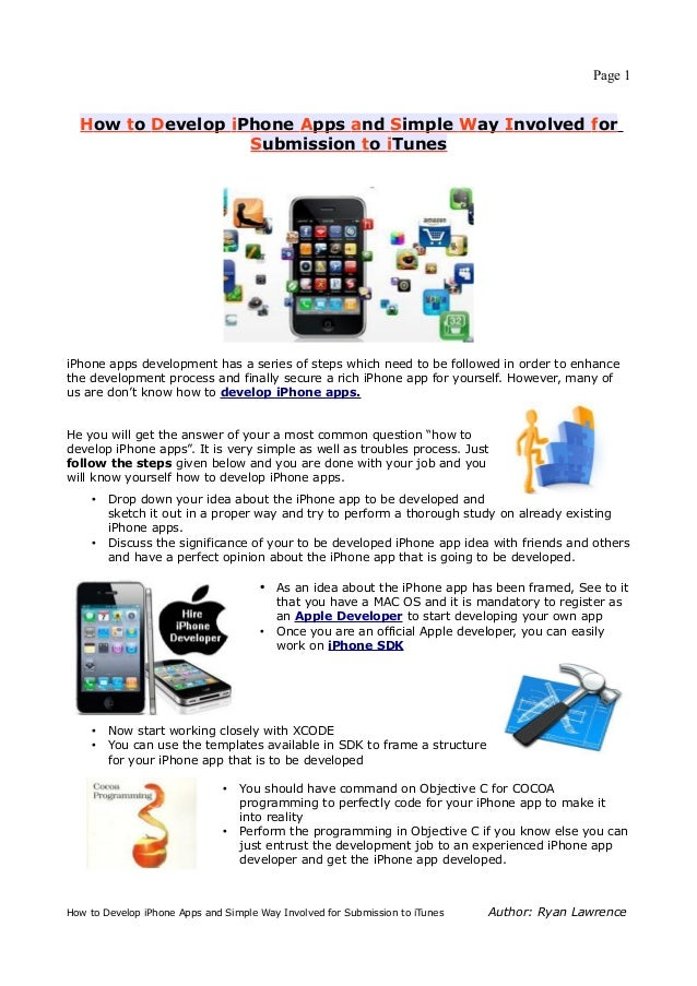 Page 1  How to Develop iPhone Apps and Simple Way Involved for                   Submission to iTunesiPhone apps developme...