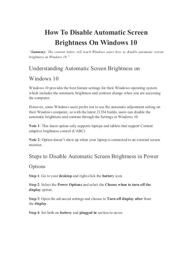 """How To Disable Automatic Screen Brightness On Windows 10 """"Summary: The content below will teach Windows users how to disab..."""