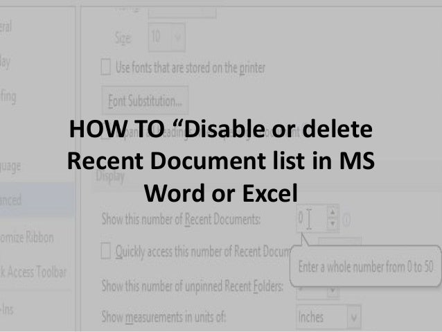 """HOW TO """"Disable or delete  Recent Document list in MS  Word or Excel"""