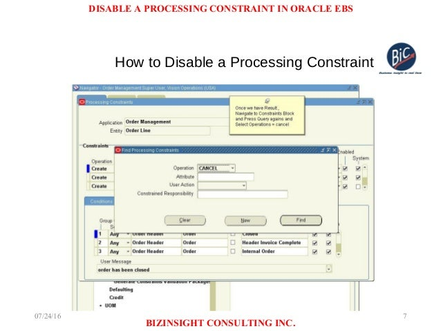 How to disable Processing Constraints in Oracle Order Management