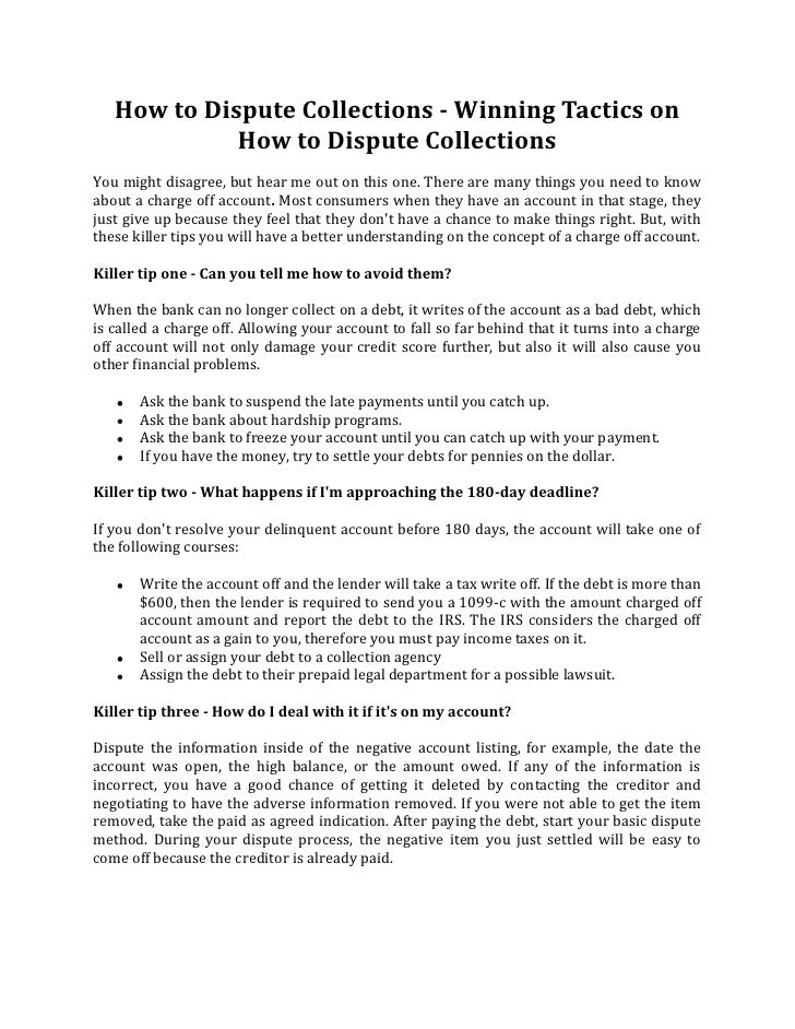Charged Off As Bad Debt >> How To Dispute Collections Winning Tactics On How To Dispute Collec