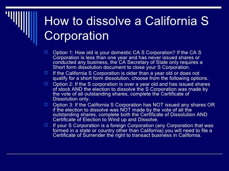 How To Dissolve A California S Corporation