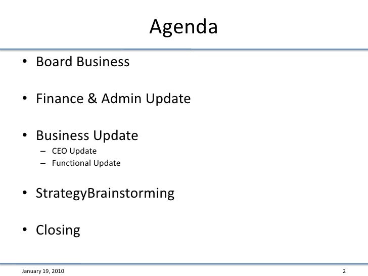 Non Profit Board Meeting Agenda Template - Varilex