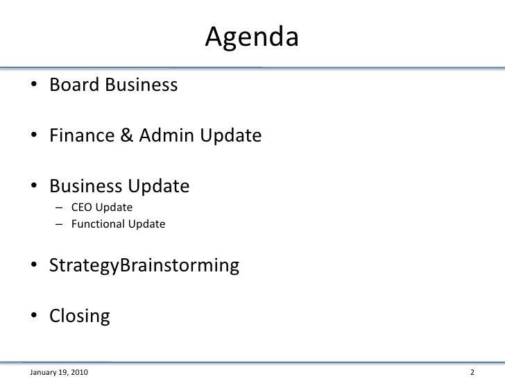 Board Meeting 101 – Board Meeting Agenda Template