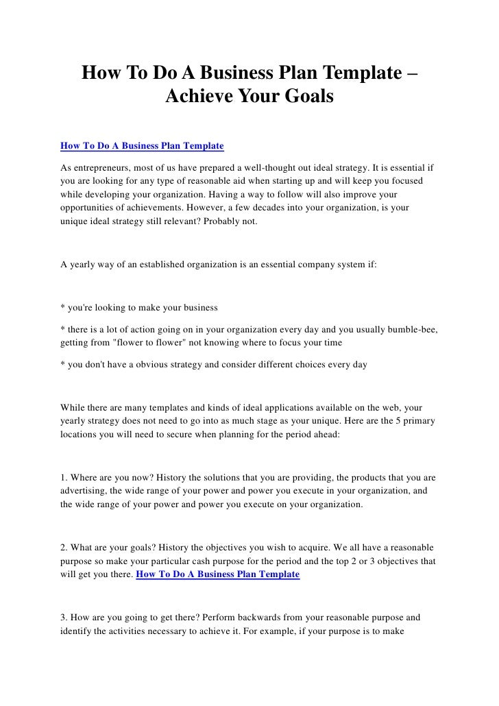 How to do a business plan template achieve your goals how to do a business plan template achieve your goalshow to do a business plan fbccfo