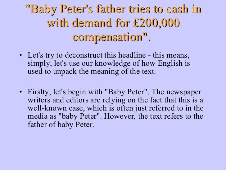 &quot;Baby Peter's father tries to cash in with demand for £200,000 compensation&quot;.  <ul><li>Let's try to deconstruct ...