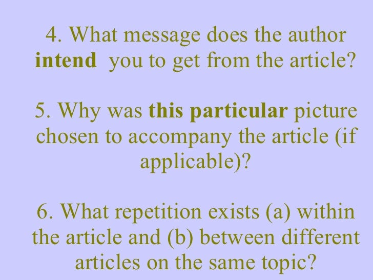 4. What message does the author  intend  you to get from the article? 5. Why was  this particular  picture chosen to accom...
