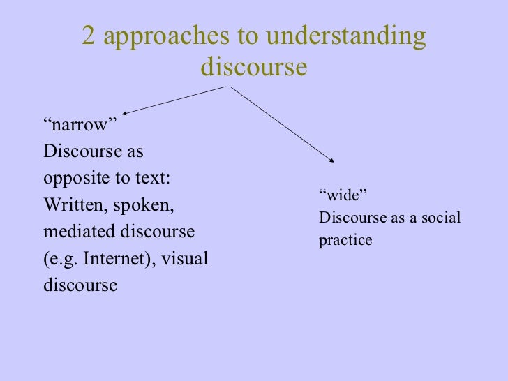 """2 approaches to understanding discourse <ul><li>"""" narrow"""" </li></ul><ul><li>Discourse as </li></ul><ul><li>opposite to tex..."""