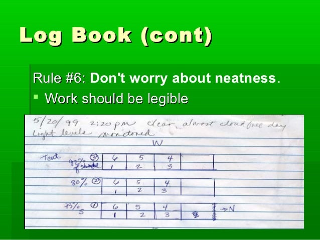 Science Fair Project: Log Book