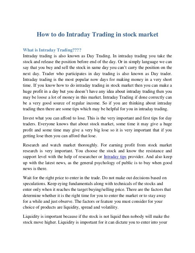 How to do intraday option trading