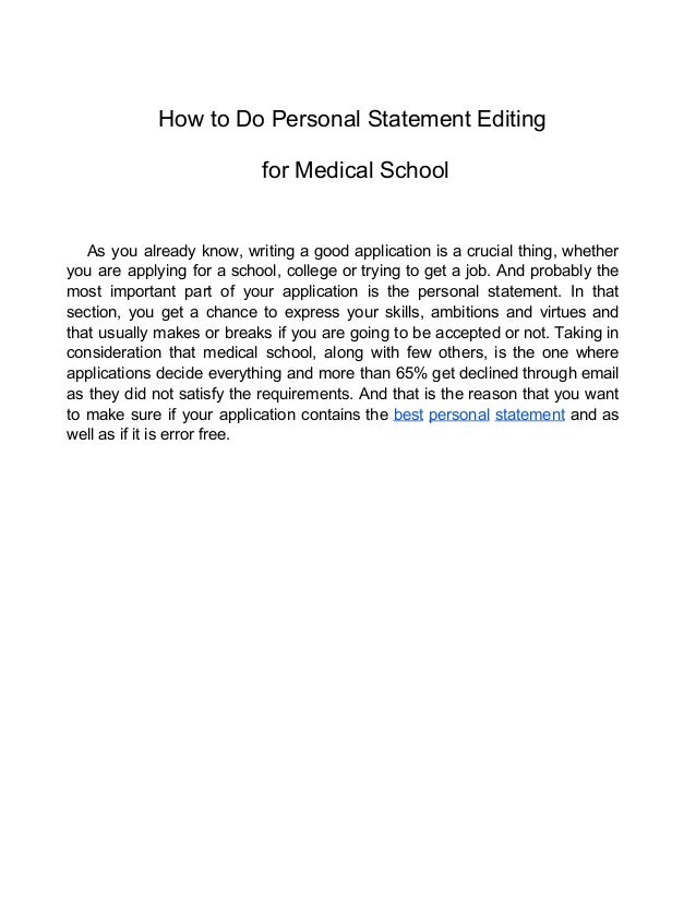 personal statement editing toronto Here are university of toronto's medical school brief personal essay questions  for this  of your essay, will most certainly make or break your overall statement.