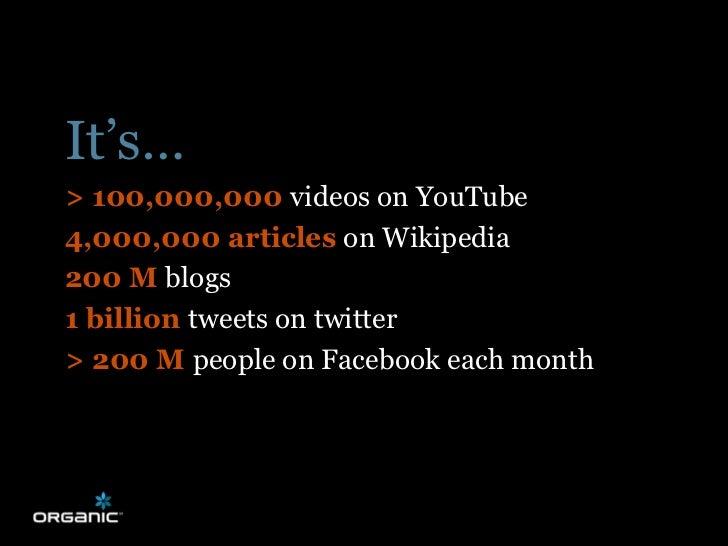 It's… > 100,000,000 videos on YouTube 4,000,000 articles on Wikipedia 200 M blogs 1 billion tweets on twitter > 200 M peop...