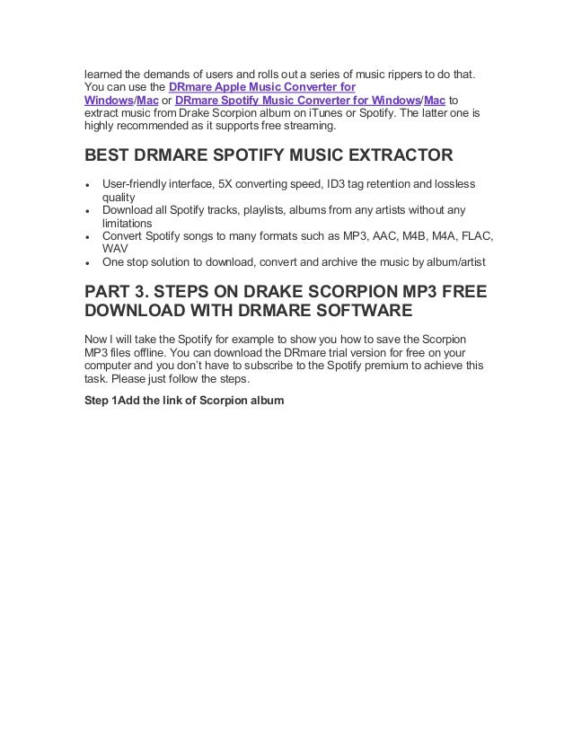 How to download drake scorpion mp3 from spotify for free