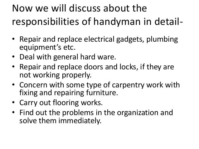 sample handyman resumes