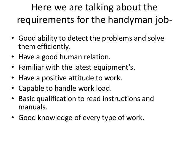 SlideShare  Handyman Resume Sample
