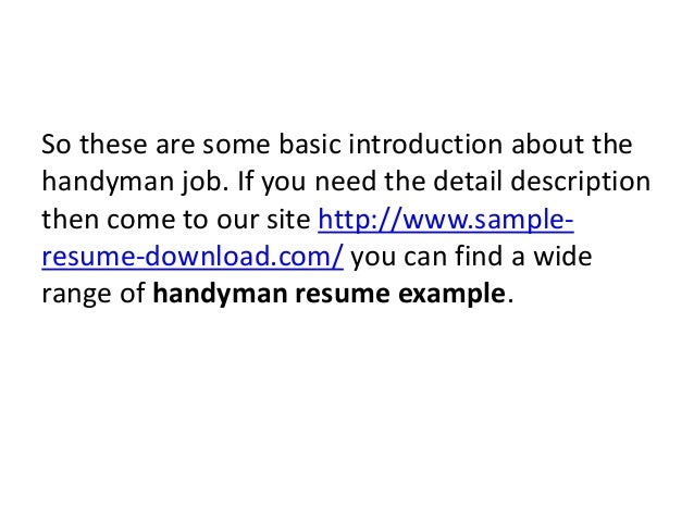 Handyman Resume Handyman Resume Cover Letter Examples 2 Updated