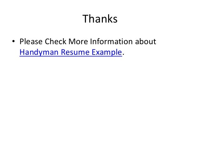 handyman resume example 7 - Handyman Resume Samples
