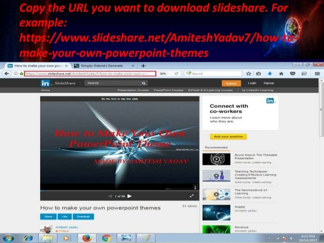3 copy the url you want to download slideshare