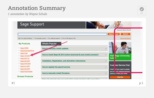 Step One - select the knowledgebase then Sage 100 ERP  Annotation Summary 1 annotation by Wayne Schulz  #1  x1  p.1