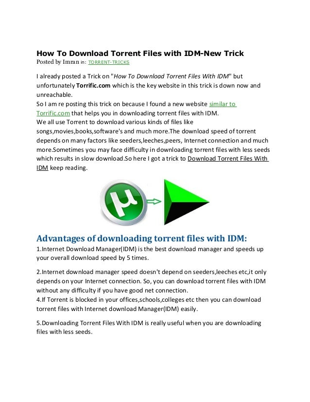 torrent download with internet download manager