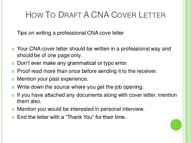 2. HOW TO DRAFT A CNA COVER LETTER Tips ...  Cover Letter For Cna