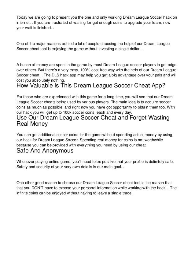 Hacking Dream League Soccer Couldn't Be Easier - Follow