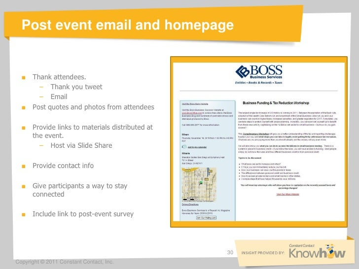 post event email and homepage