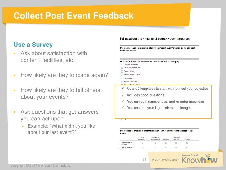 Collect Post Event Feedback Use