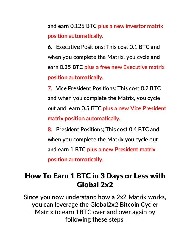 How to earn 1 btc in 3days or less with global2x2