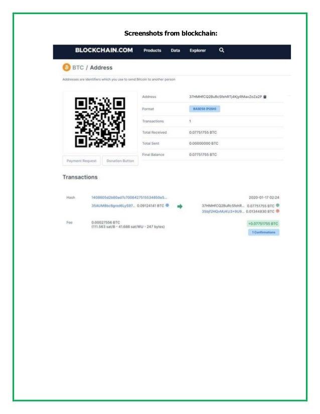 Screenshots from blockchain: