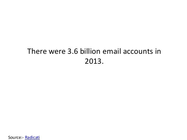 There were 3.6 billion email accounts in 2013. Source:- Radicati
