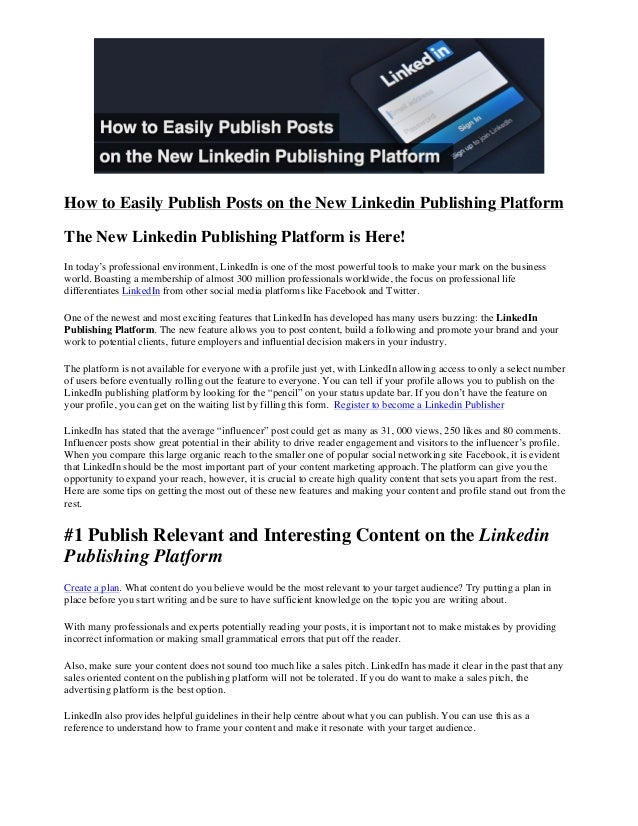 How to Easily Publish Posts on the New Linkedin Publishing Platform The New Linkedin ...