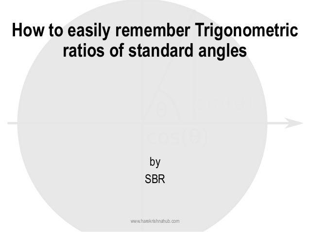 How to easily remember Trigonometric ratios of standard angles by SBR www.harekrishnahub.com
