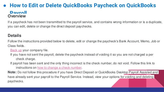 How to edit or delete quick books paycheks on quickbooks payroll