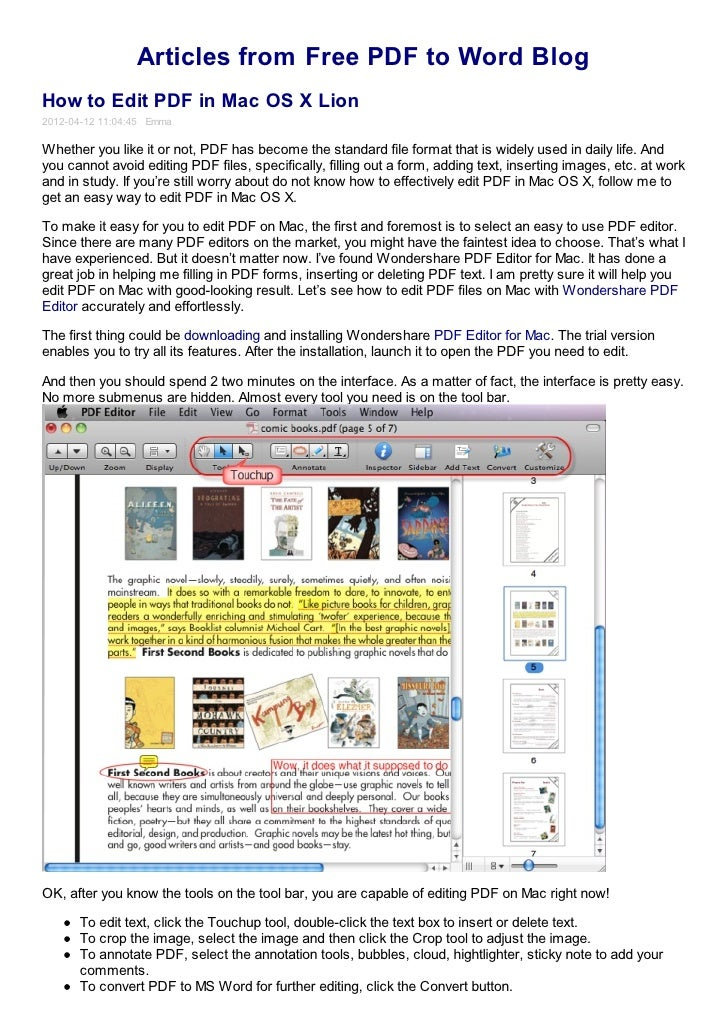 How to edit pdf in mac os x lion