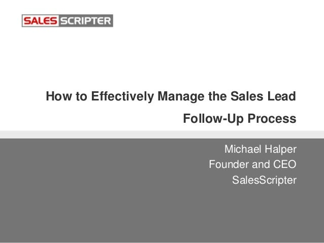 how to manage sales leads