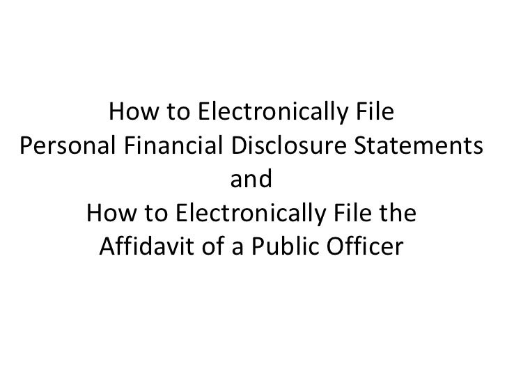 How to electronically file a pfd or affadavit