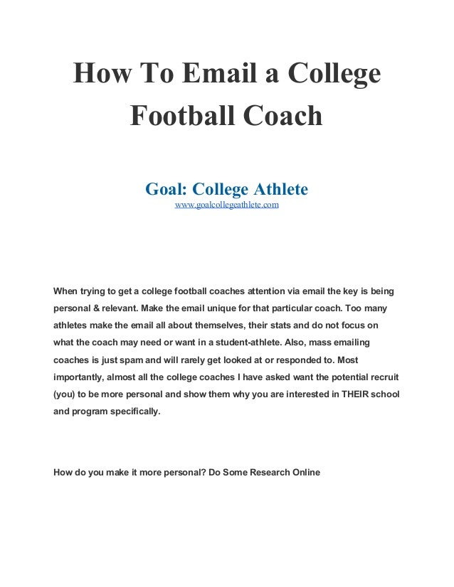 How To Email A College Football Coach