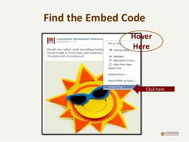 Find the Embed Code Hover Here Click here