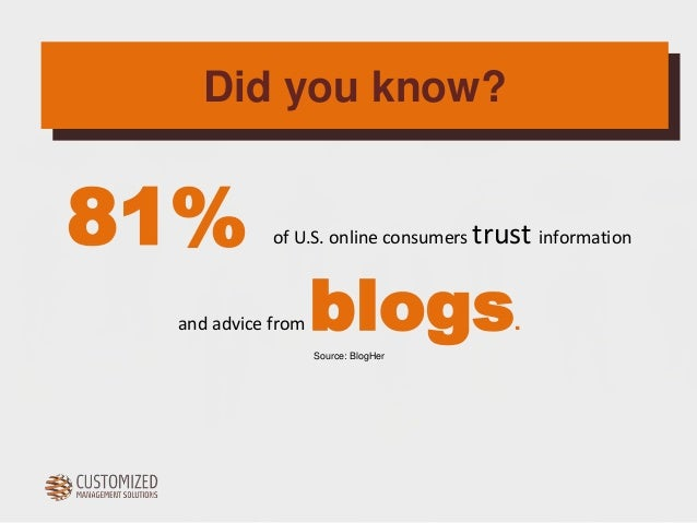 Did you know?  81%  of U.S. online consumers trust information  and advice from  blogs  .  Source: BlogHer