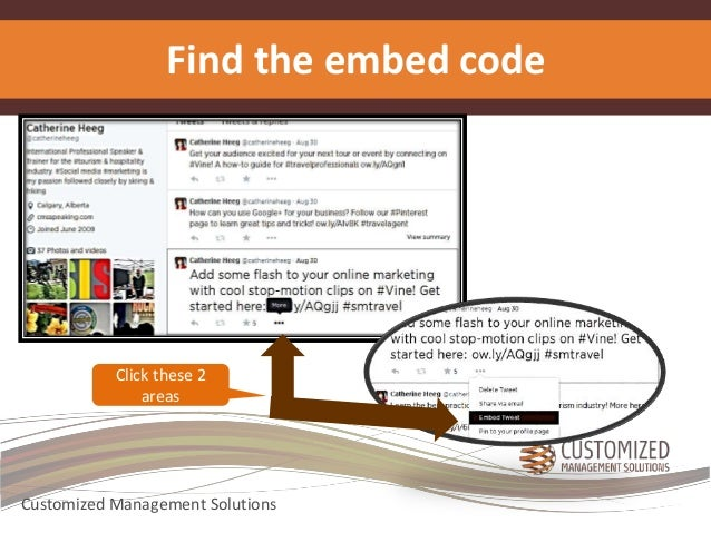 Find the embed code  Click these 2  areas  Customized Management Solutions