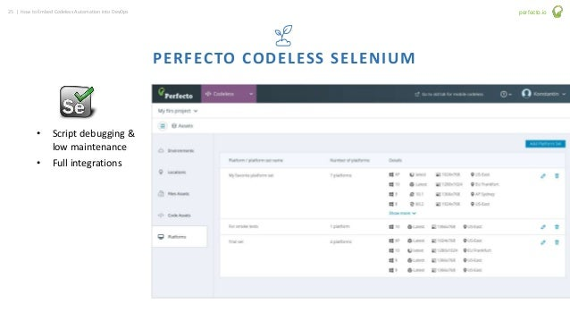 25 | How to Embed Codeless Automation into DevOps perfecto.io PERFECTO CODELESS SELENIUM • Script debugging & low maintena...