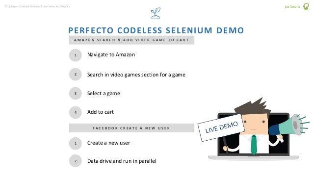 26 | How to Embed Codeless Automation into DevOps perfecto.io PERFECTO CODELESS SELENIUM DEMO 1 2 3 4 Navigate to Amazon S...
