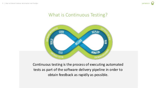 5 | How to Embed Codeless Automation into DevOps perfecto.io What is Continuous Testing? Continuous testing is the process...