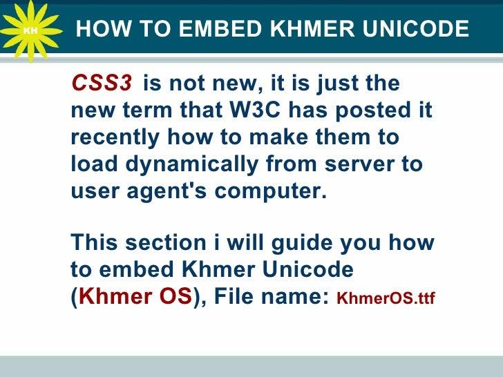 How To Embed Khmer Fonts On FireFox3 5 , Safari, Opera, Google Chrome