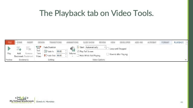 How to embed edit youtube video in powerpoint 2013 the playback tab on video tools ccuart Gallery