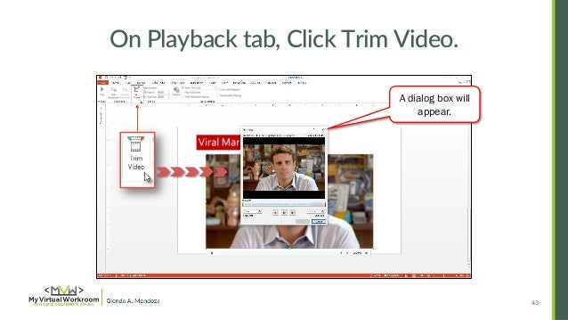 How to embed edit youtube video in powerpoint 2013 42 trim the video clip in powerpoint presentation 43 on playback ccuart Gallery