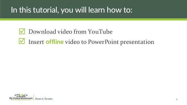 How do i embed a youtube video in powerpoint without online
