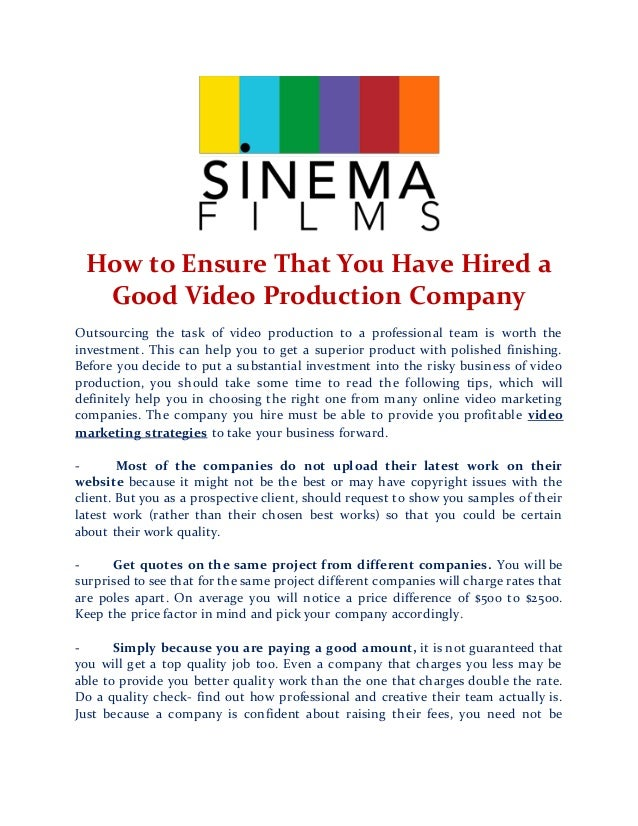How to ensure that you have hired a good video production