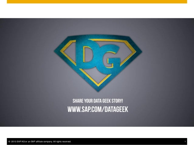 © 2013 SAP AG or an SAP affiliate company. All rights reserved. 1